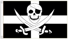 Cornwall County Skull & Crossed Swords Pirate 5'x3' (150cm x 90cm) Flag